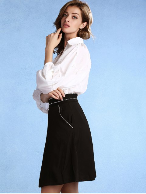 trendy Black High Waisted Pockets A Line Skirt - BLACK XL Mobile