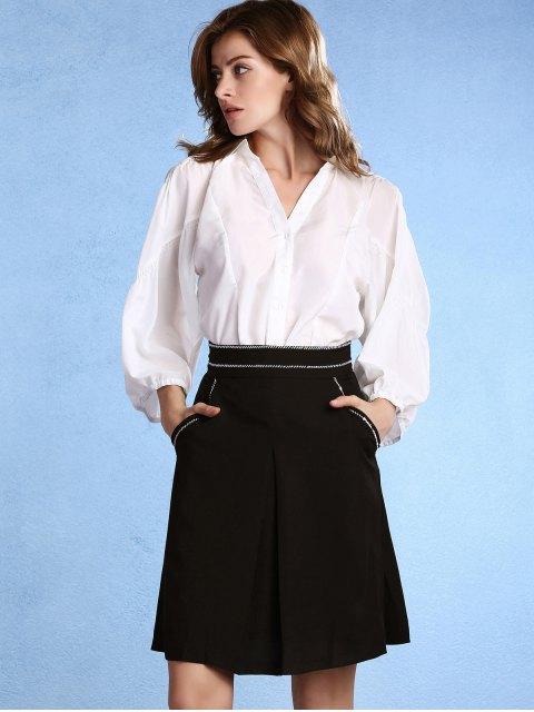 fashion Black High Waisted Pockets A Line Skirt - BLACK 2XL Mobile