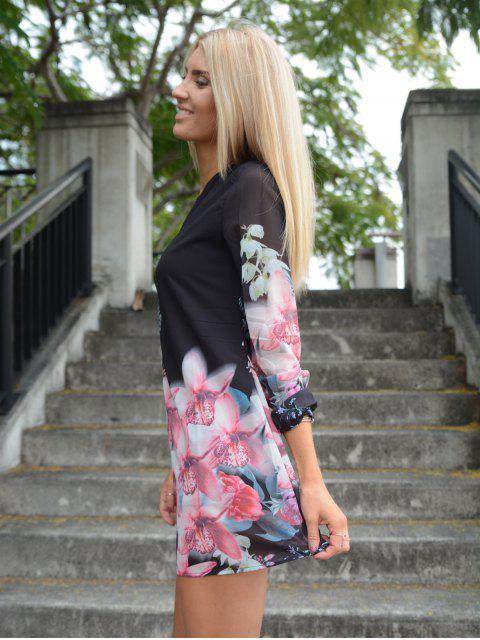 ladies Printed Chiffon Long Sleeves Round Neck Dress - BLACK S Mobile