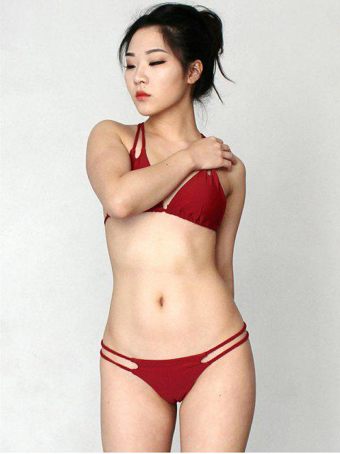 latest Solid Color Halter Lace Up Bikini Set - WINE RED M Mobile