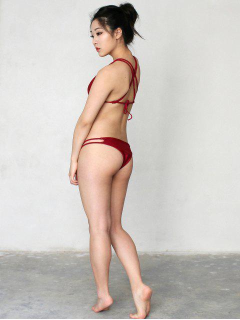 trendy Solid Color Halter Lace Up Bikini Set - WINE RED L Mobile