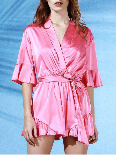 Flouncing Spliced mit V-Ausschnitt-Schmetterlings-Hülsen-Verpackungs-Body - Pink XL  Mobile
