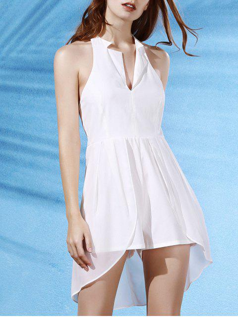 lady Backless Lapel Collar Spliced Solid Color Romper - WHITE S Mobile
