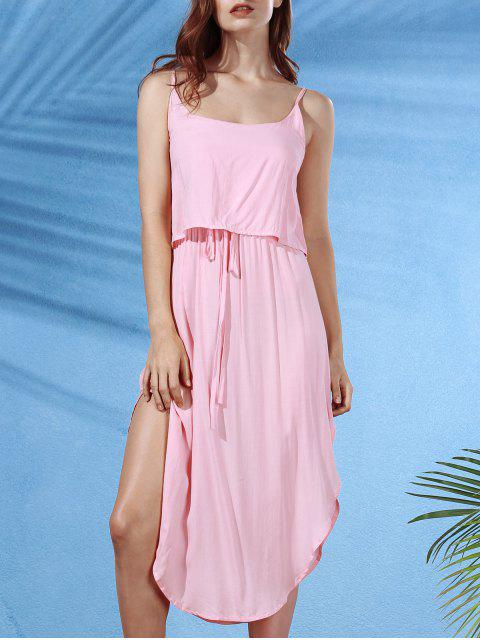 trendy Irregular Hem Spaghetti Straps Drawstring Side Slit Dress - SHALLOW PINK L Mobile