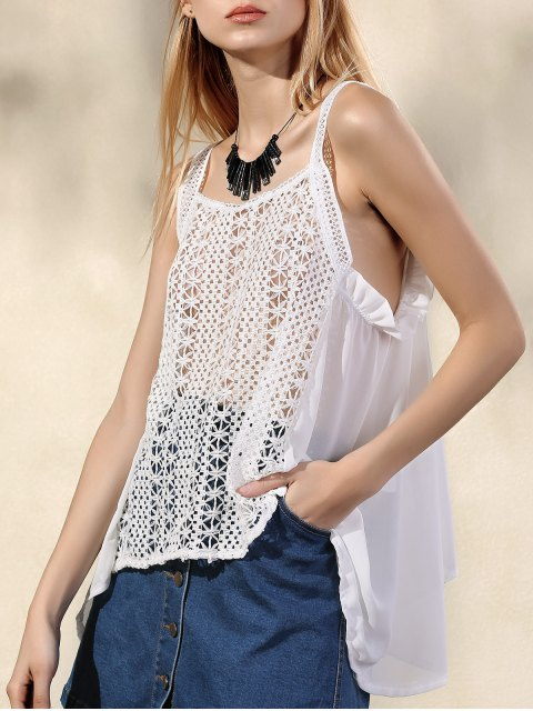 womens Hollow Out Irregular Hem Tank Top - WHITE S Mobile