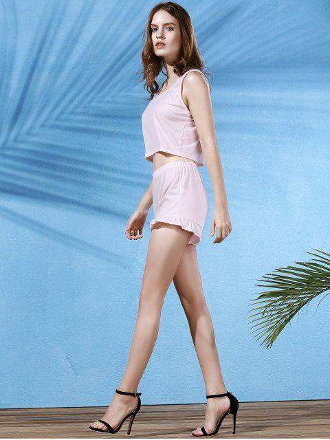 shops Cropped Pink Tank Top and Ruffles Shorts Suit - LIGHT PINK M Mobile