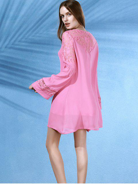 women's Lace Splice Round Neck Long Sleeves Dress - PINK M Mobile
