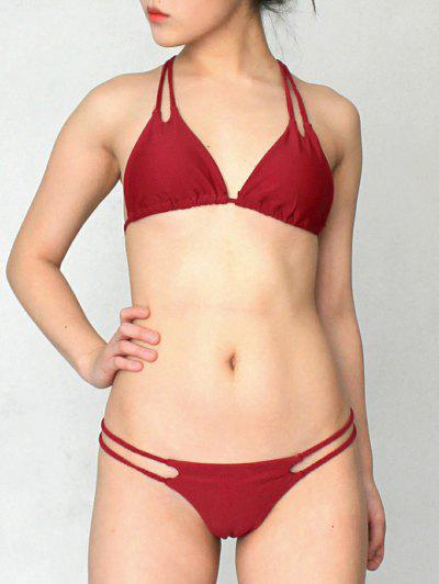 Solid Color Halter Lace Up Bikini Set - Wine Red L