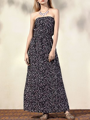 Printed Fitting Bandeau Sleeveless Maxi Dress - Black M