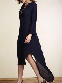 Con Cordones De Vestido Maxi Irregular Hem - Azul Purpúreo L