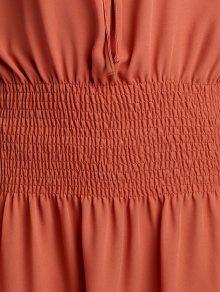 6934f840fd8 30% OFF  2019 Elastic Waist Spaghetti Strap Solid Color Dress In ...