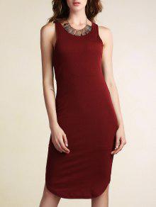 Color Sólido Paquete De Glúteos T Vestido Sin Mangas Del Cuello - Vino Rojo M