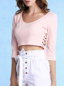Lace Up Scoop Neck 3/4 Sleeve Cropped T-Shirt - Light Pink L