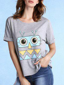 Rolled Sleeve Character Print Grey Tee - Gray M