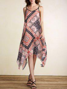 Loose Print Spaghetti Straps Sleeveless Dress - Jacinth Xl