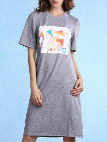 Geometric Pattern Round Neck Half Sleeve Knee Length Dress - Gray Xl