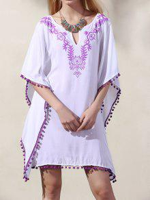 396d91210afe ... Dress  Wide Sleeve Laciness Loose Dress  Wide Sleeve Laciness Loose  Dress. trendy Wide Sleeve Laciness Loose Dress - WHITE + PURPLE ONE SIZE(FIT  SIZE XS