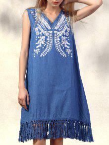 Retro Fringe Embroidered V Neck Sleeveless Dress - Denim Blue M