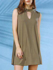 Sleeveless Swing Dress - Army Green L