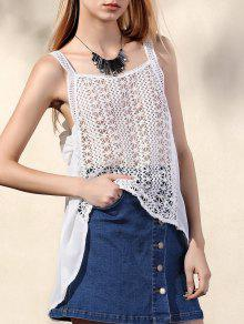 Hollow Out Irregular Hem Tank Top - White L