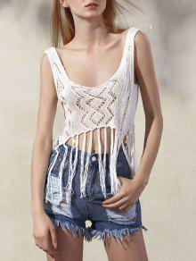 Fringed Knit Tank Top - White