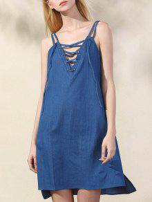 Lace Up Spaghetti Straps Chambray Dress - Blue S