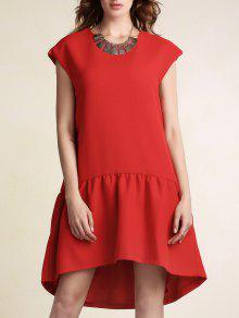 فستان أحمر كشكش عالية انخفاض قصيرة الأكمام - أحمر M