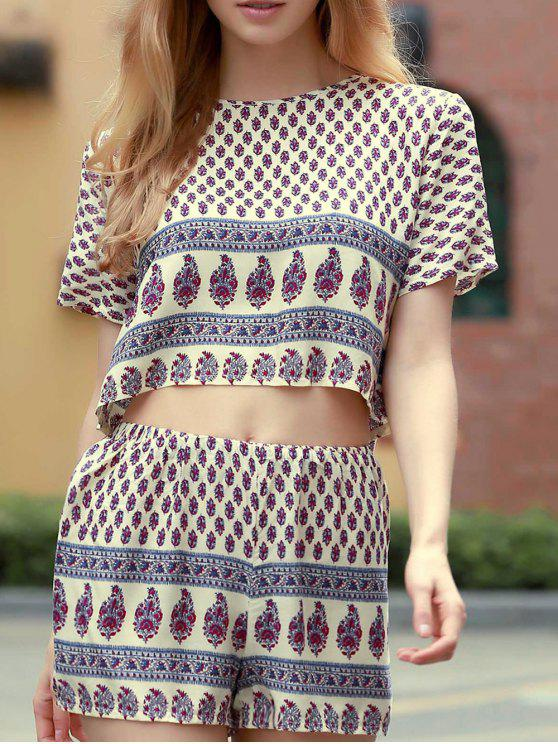outfit Cropped Printed T-Shirt and Shorts Twinset - WHITE L