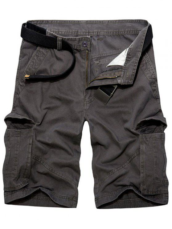 online Casual Loose Fit Multi-Pockets Solid Color Cargo Shorts For Men - DEEP GRAY 36