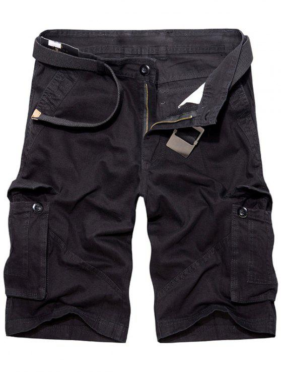 outfit Casual Loose Fit Multi-Pockets Solid Color Cargo Shorts For Men - BLACK 31