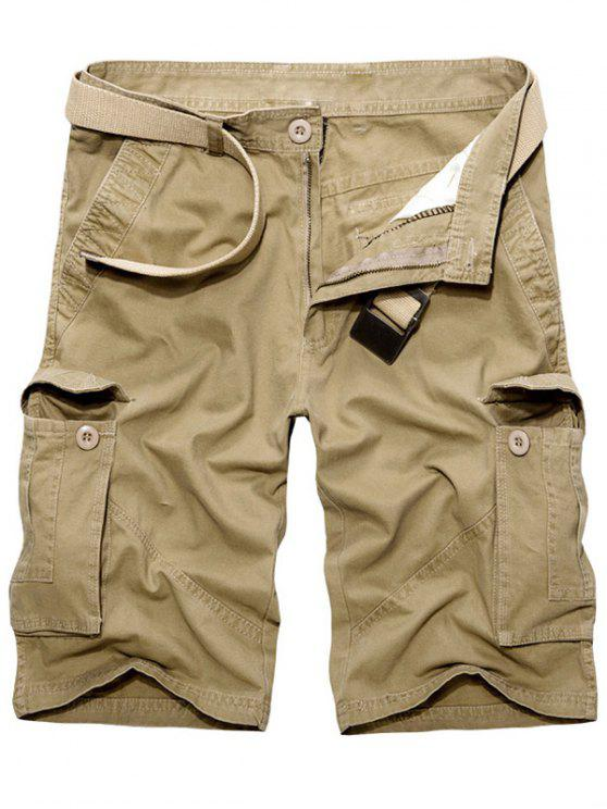trendy Casual Loose Fit Multi-Pockets Solid Color Cargo Shorts For Men - KHAKI 31