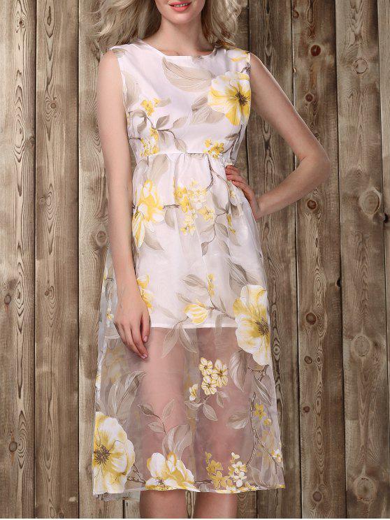 Vestido de impressão floral Midi - Dourado XL