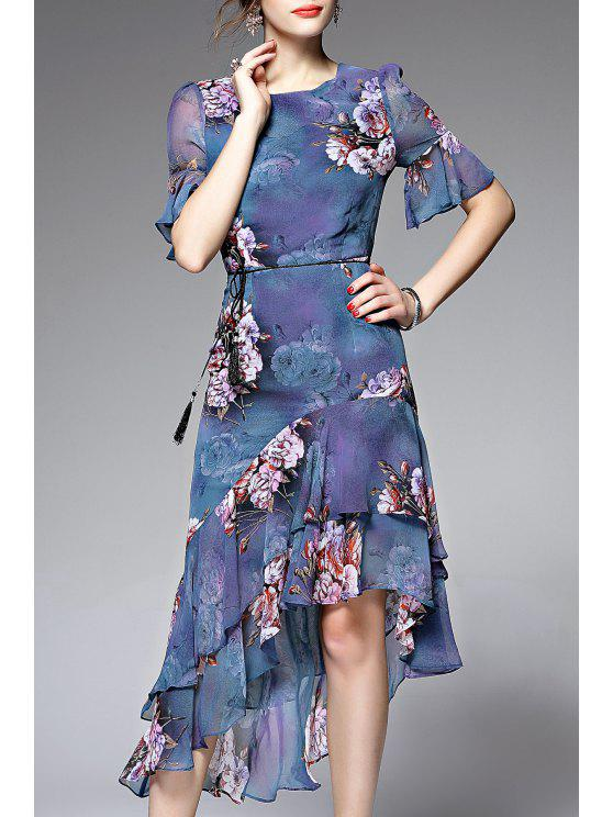 new Asymmetric Flounce Floral Tea Length Dress - BLUE S