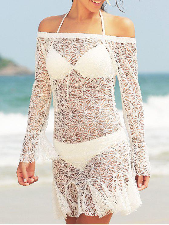 outfit Stylish Halter Neck Push Up Three-Piece Women's Bikini Set - WHITE XL