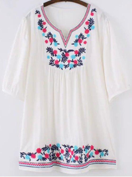 women's Ethnic Embroidered Sweetheart Neck 3/4 Sleeve Blouse - WHITE ONE SIZE(FIT SIZE XS TO M)