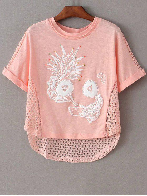 sale Printed Cut Out Round Neck Short Sleeve T-Shirt - PINK XS