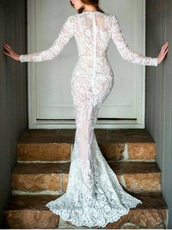 Plunging Neck Prom Long Sleeve Lace Dress WHITE: Maxi Dresses S | ZAFUL