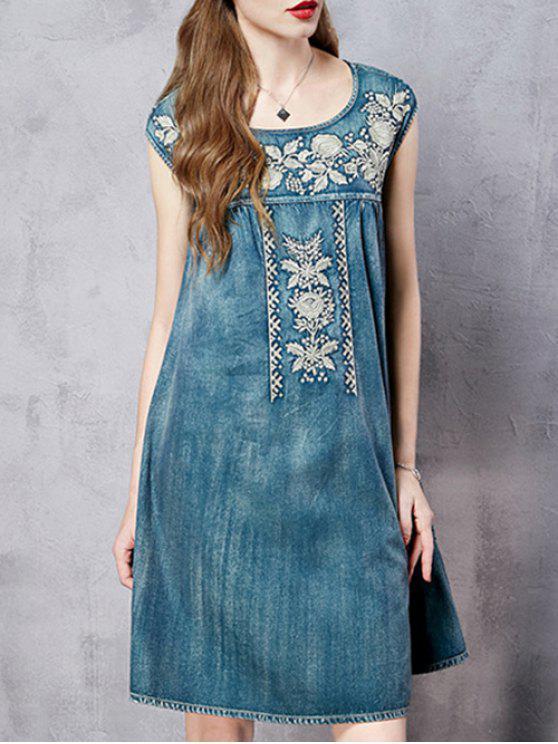 Bordado retro redondo vestido sin mangas del cuello - Azul M