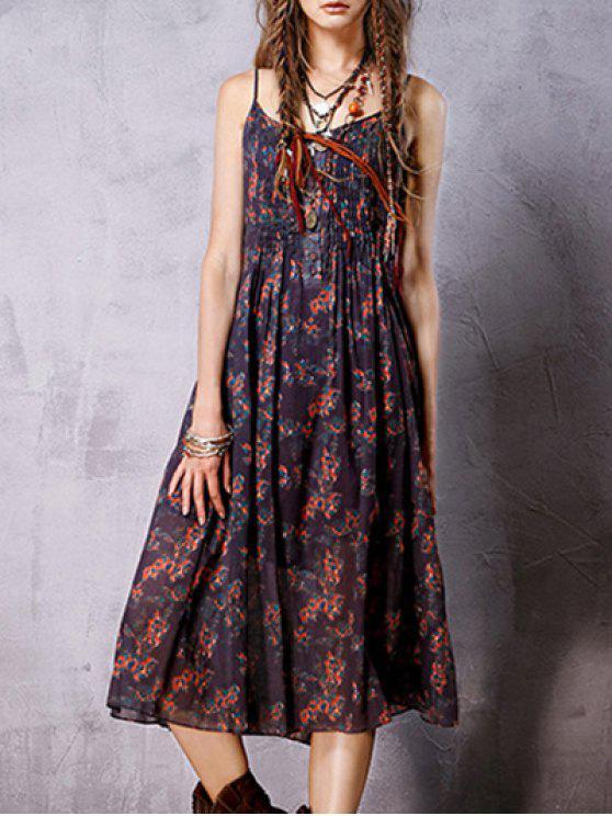 Bohemia Imprimir Cami vestido sin mangas - Púrpura L