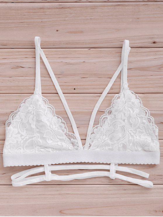 best Lace Cami Bra Tank Top - WHITE M