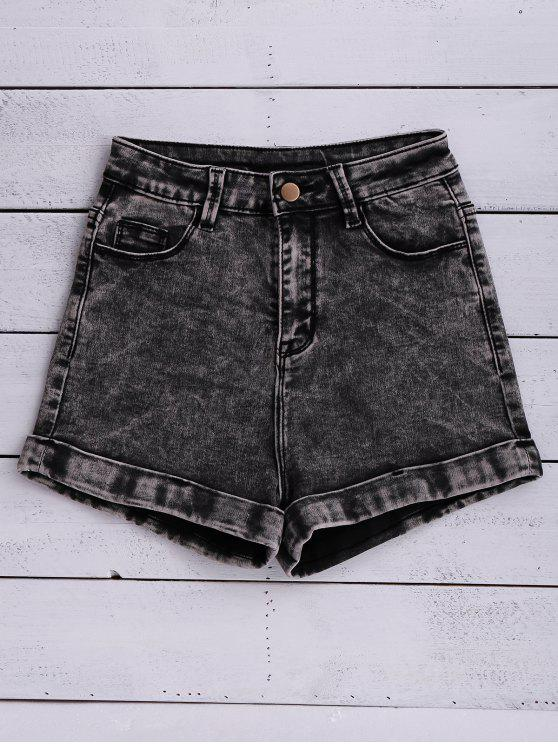 Shorts en denim à lavage de neige - Noir 25