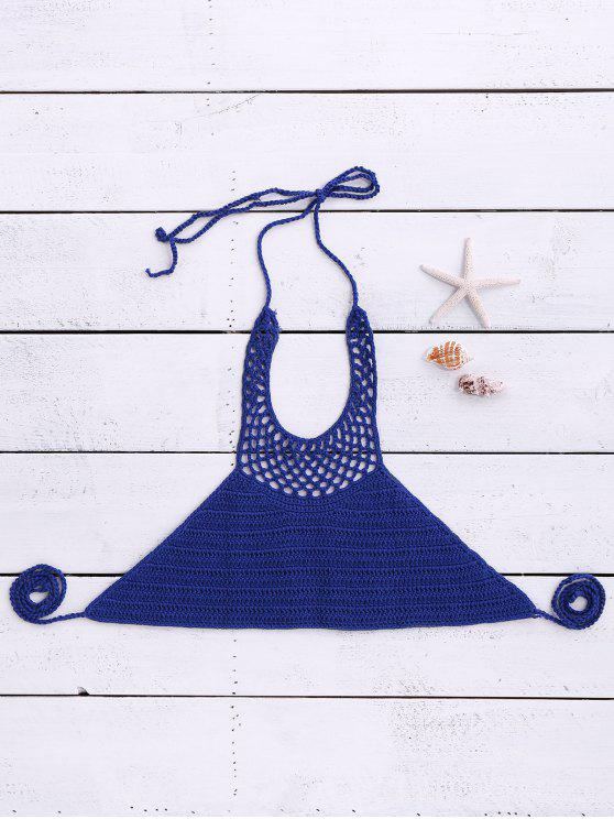 Halter Neck Crochet Bikini Top - Bleu Taille Unique(S'adap
