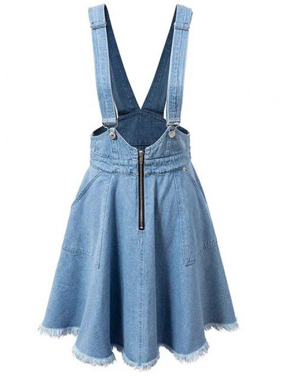 lady Denim Zipper Rough Selvedge Suspender Skirt - ICE BLUE S