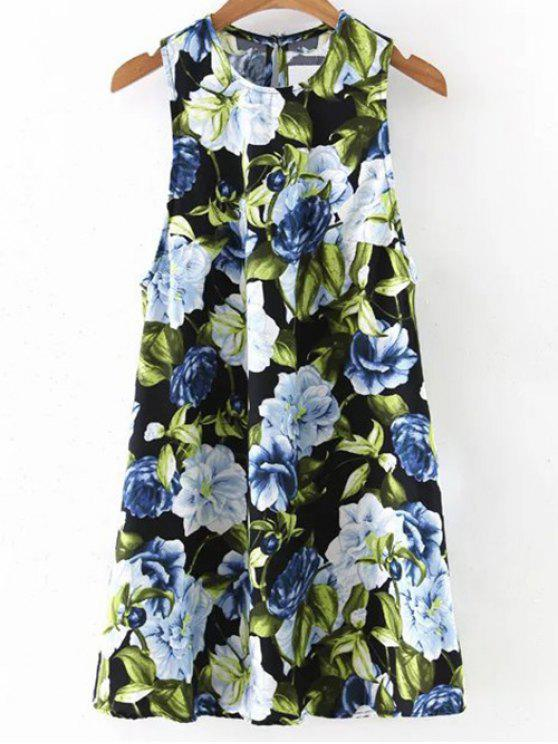 Round Floral Mini-robe col - Noir L