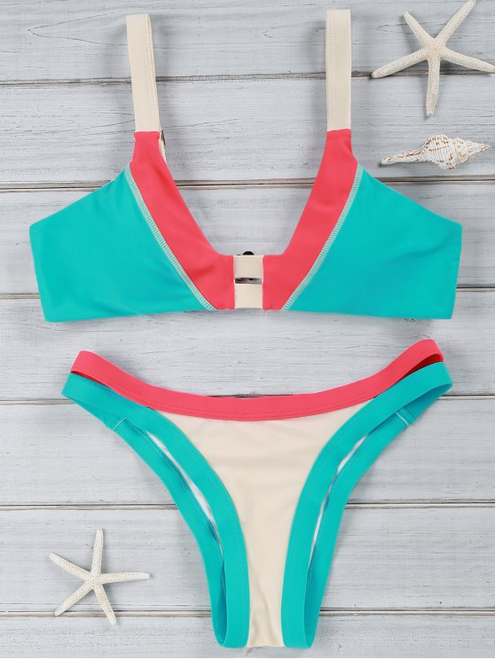 chic Chic Color Block U Neck Bikini Suit Swimwear - KHAKI L