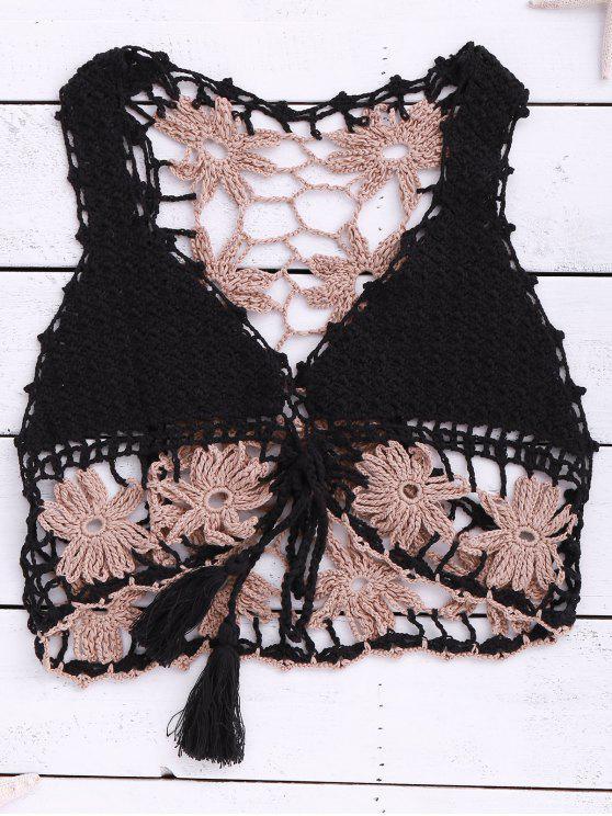 Crocheté Lace Up manches Crop Top - Noir Taille Unique(S'adap
