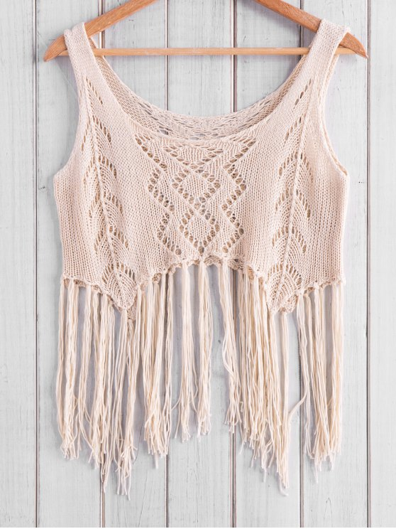 trendy Fringed Knit Tank Top - APRICOT ONE SIZE(FIT SIZE XS TO M)