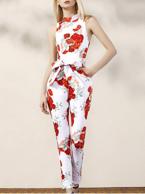 fashion Floral Turtle Neck Sleeveless Jumpsuit - RED WITH WHITE M