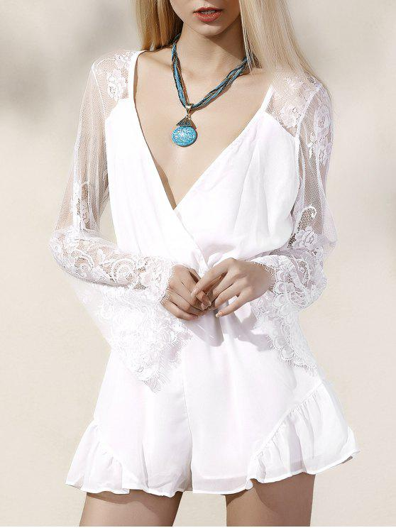 buy Lace Splice Plunging Neck White Romper - WHITE L