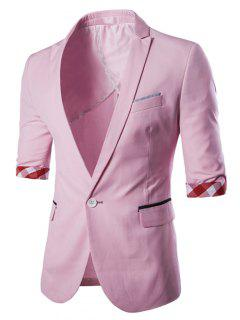 Casual Three Quarter Sleeve Solid Color Blazer For Men - Pink Xl